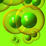 chlorine gas molecules on a green background