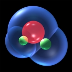 water molecules blue van der Waals